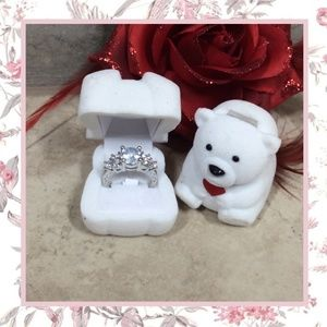 🎀 2PC: RING BEAR 10K GOLD WHITE BLING DIAMOND